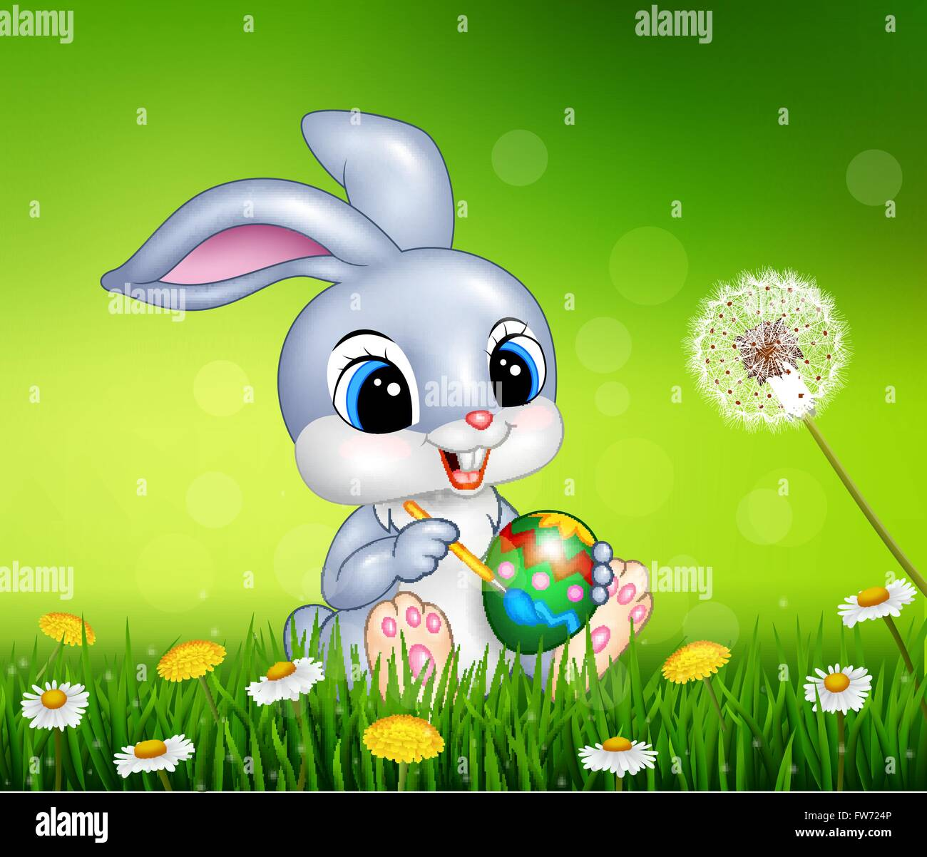 Cartoon Conejito de Pascua para pintar un huevo en temporada de ...