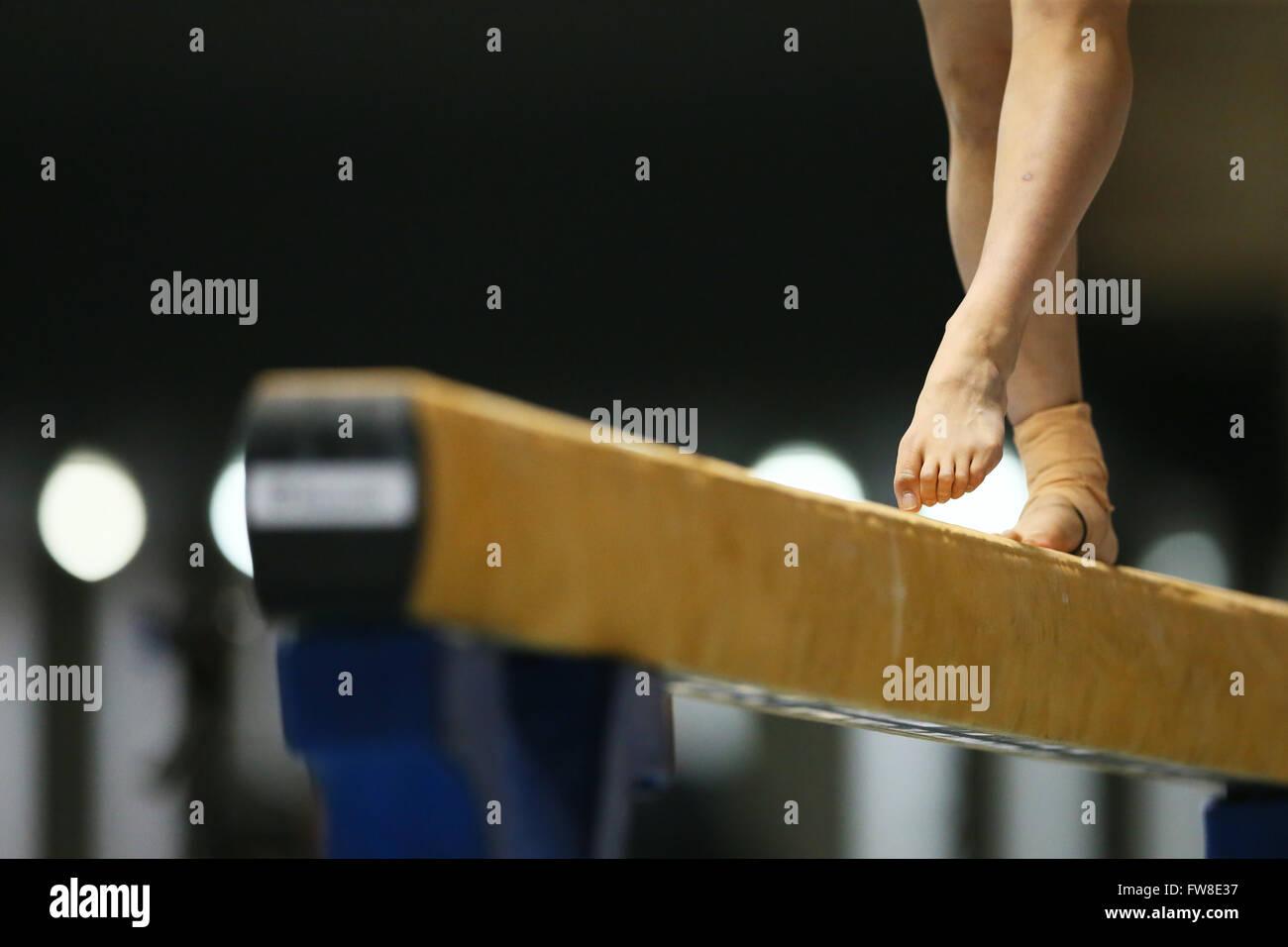 Tokio, Japón. El 1 de abril, 2016. Detalle shot, Abril 1, 2016 - Gimnasia Artística : El 70All Japan gimnasia Imagen De Stock