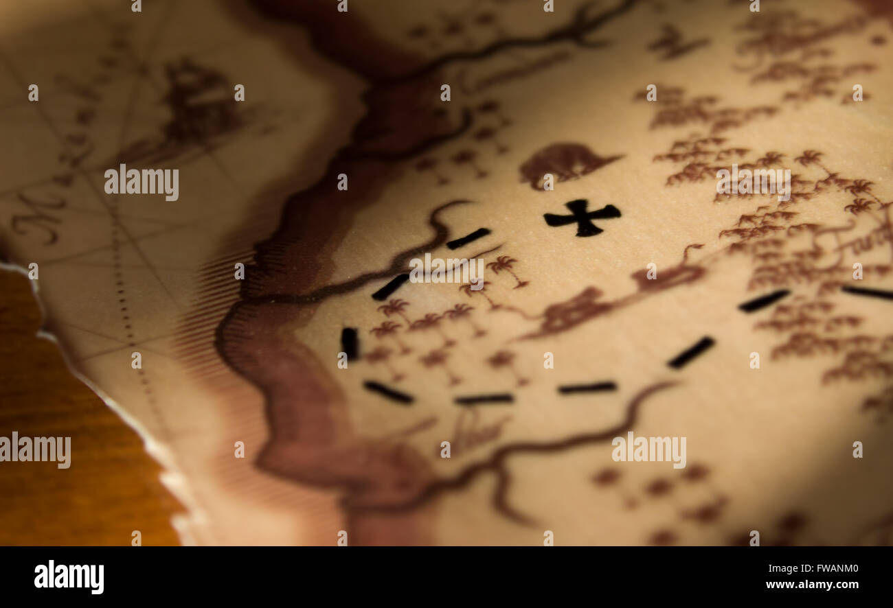 Un anciano viejo mapa del tesoro retro amarillo Imagen De Stock
