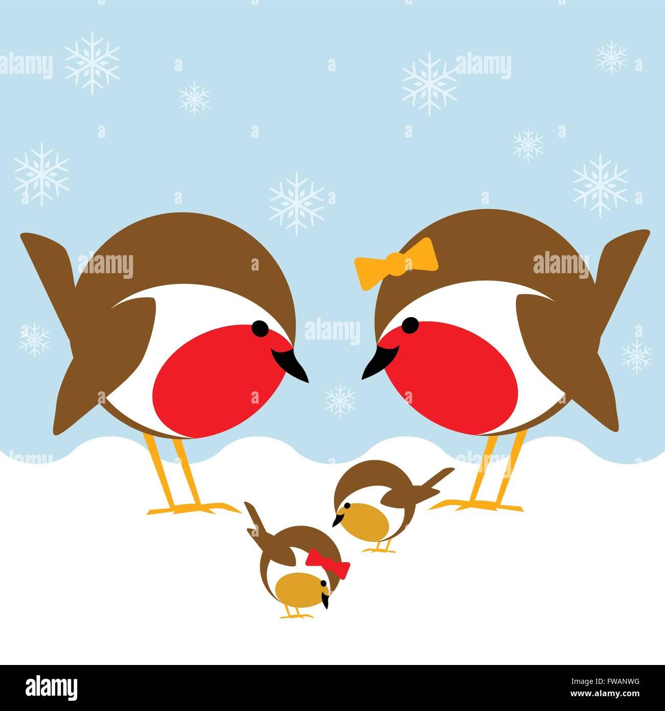 Una bonita escena de invierno con una familia de robin redbreasts en la nieve. La madre y el padre supervisar sus Imagen De Stock
