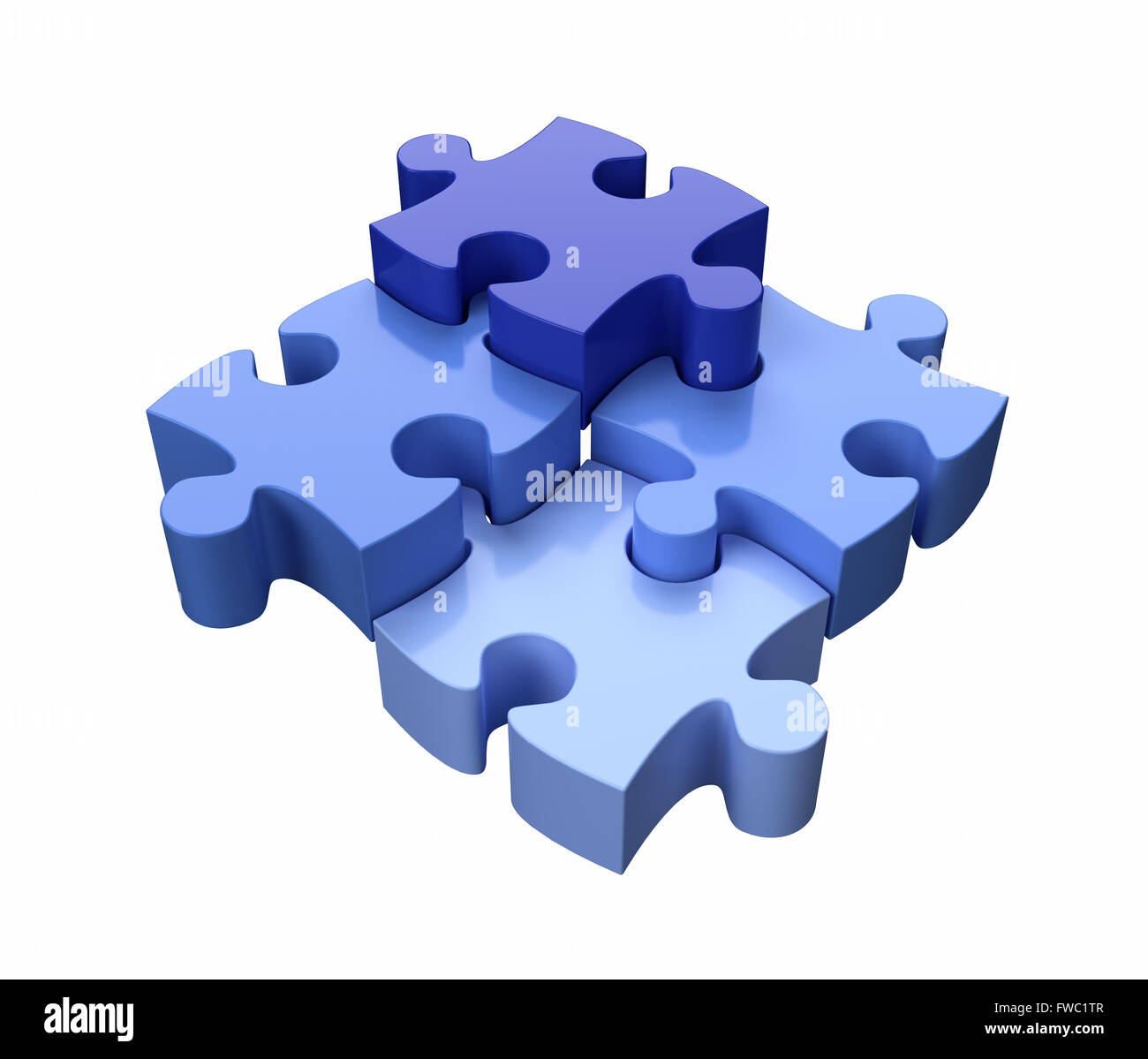 Cuatro piezas de un rompecabezas azul sobre fondo blanco. Imagen De Stock