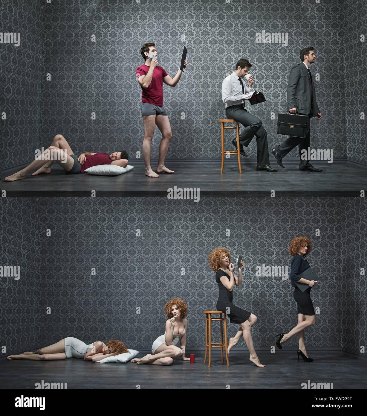 Collage de fotos de una mañana típica de empleados de cuello blanco Imagen De Stock