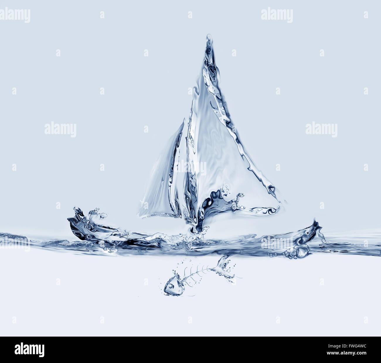Agua azul de agua barco de vela. Imagen De Stock