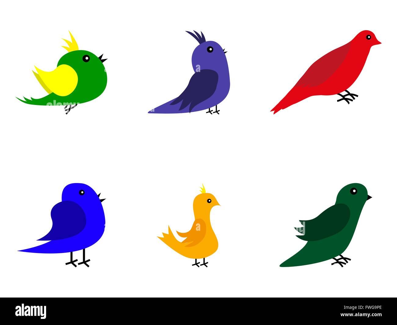 Colección De Pájaros De Dibujos Animados Ilustración Del Vector