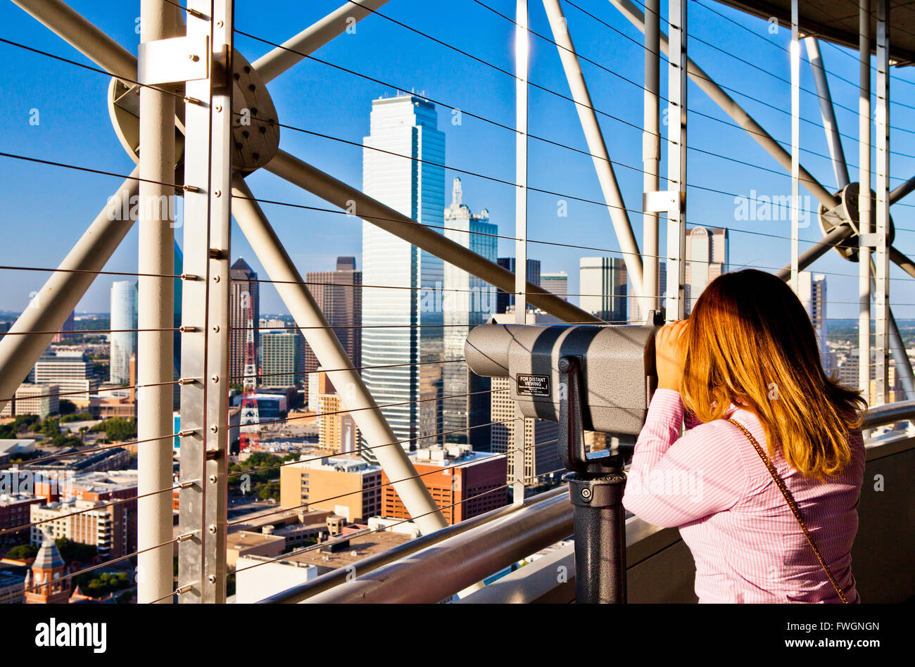 Skyline desde Reunion Tower, Dallas, Texas, Estados Unidos de América, América del Norte Foto de stock