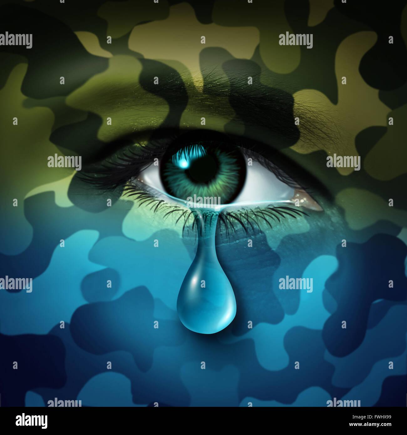 Concepto de salud mental depresión militares y víctimas de la guerra como símbolo de un ojo humano llorando lágrima con camuflaje verde se transforma en un humor azul como una metáfora para el veterano combatiente o problemas de salud. Foto de stock