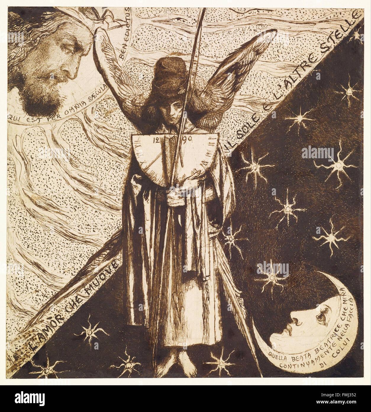 Dante Gabriel Rossetti - Dantis Amor - estudio terminado Imagen De Stock