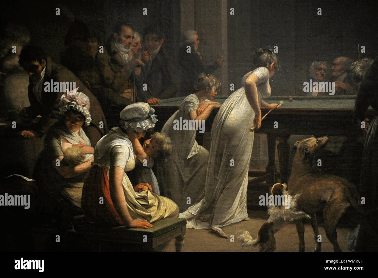 Louis Leopold Boilly (1761-1845). El pintor francés. Juego de billar, 1807. Detalle. Óleo sobre lienzo. El Museo Foto de stock