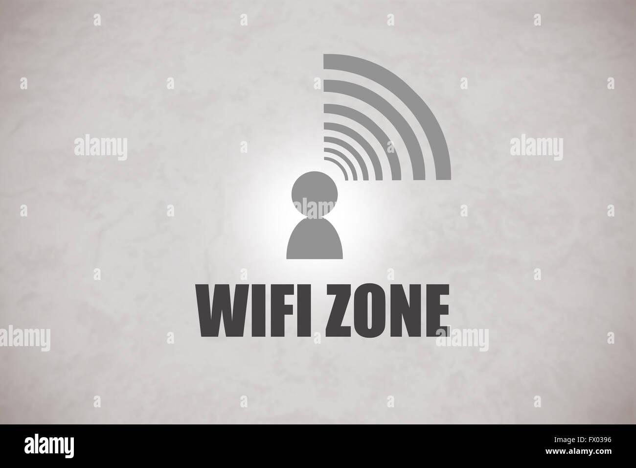 Zona Wifi el logo en un fondo gris Imagen De Stock