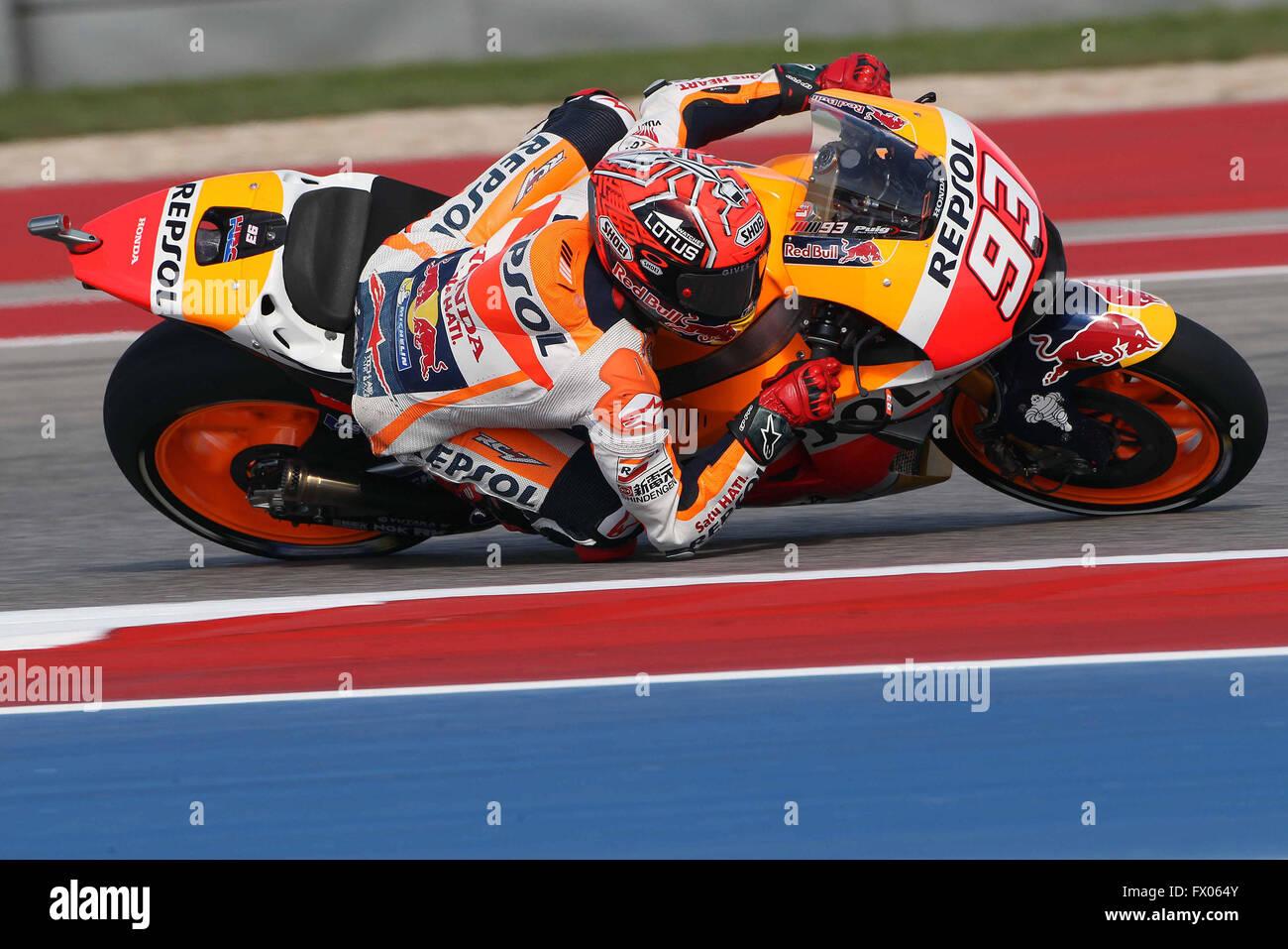 Austin, Texas, EE.UU. 08 abr, 2016. Marc Márquez, de España y de Repsol Honda Team redondea el doble durante Imagen De Stock