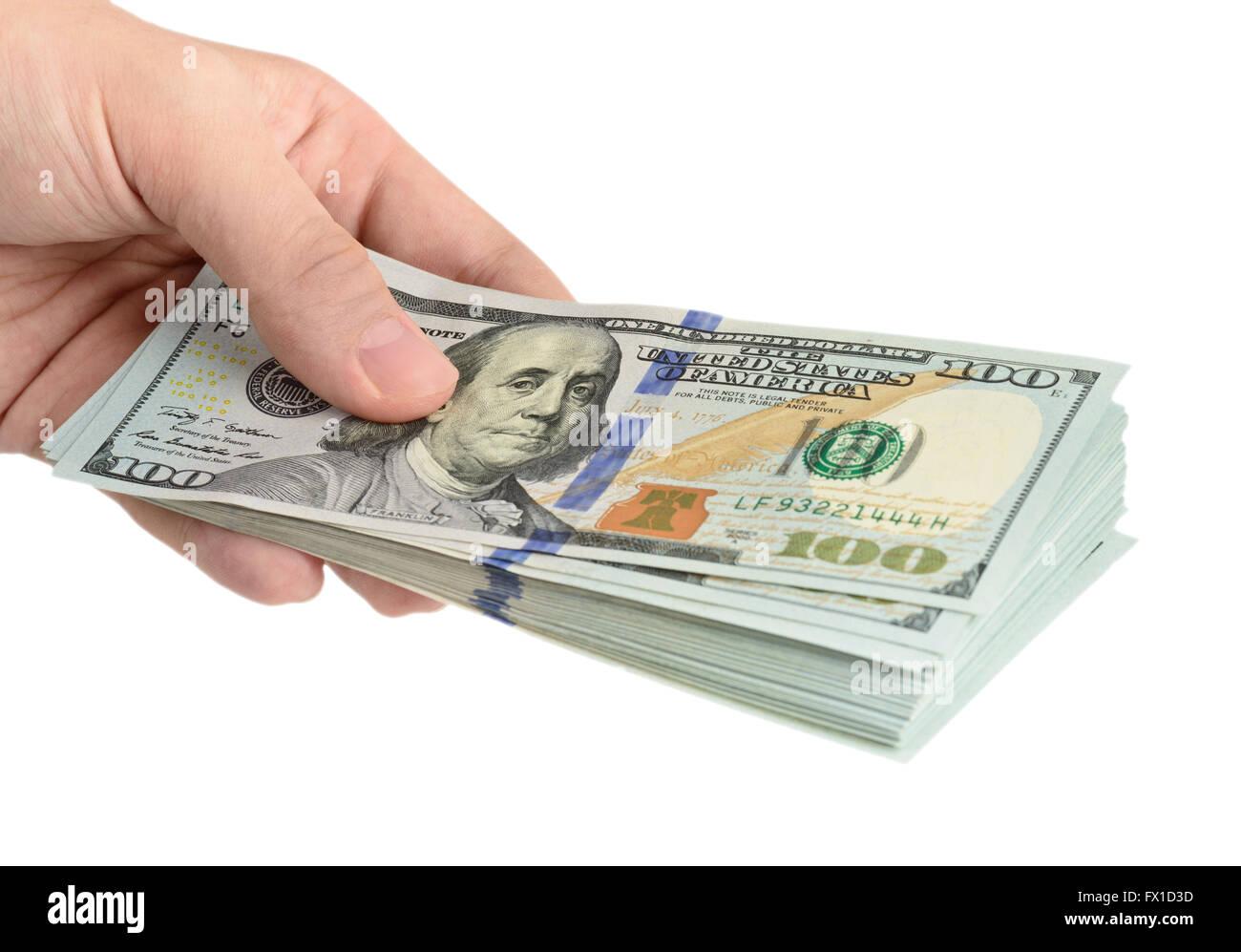 Mano con dólares aislado sobre fondo blanco. Imagen De Stock