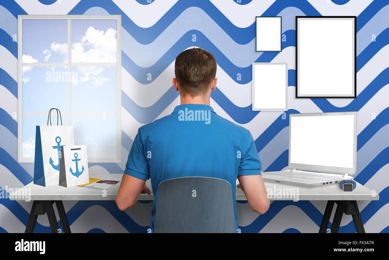 Tipo de trabajo de oficina en blanco en azul. Portátil y los marcos ...