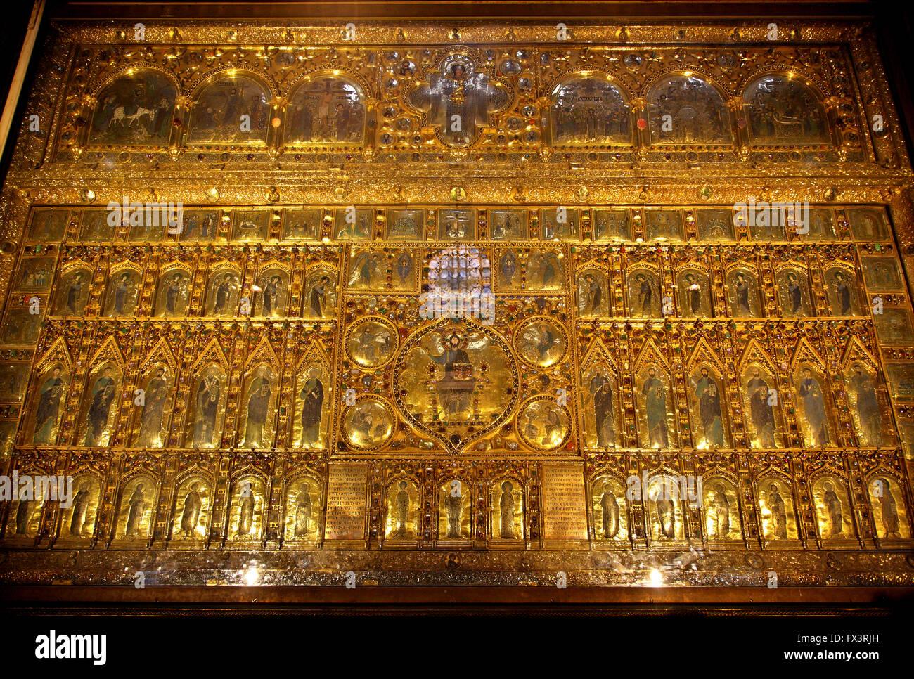 La Pala d'Oro en la basílica de San Marcos (San Marcos), Venice, Veneto, Italia. Imagen De Stock