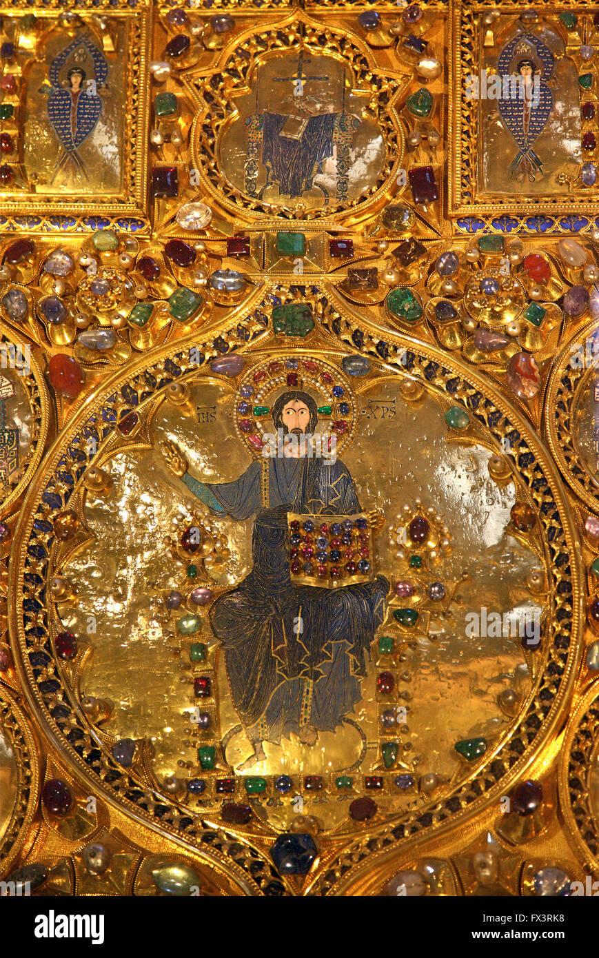'Detalle' de la pala d' Oro en la basílica de San Marcos (San Marcos), Venice, Veneto, Italia. Imagen De Stock