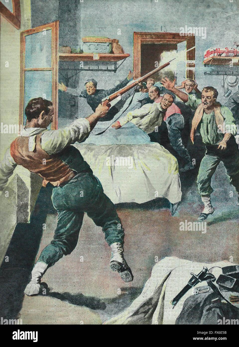 El drama de la locura, un soldado italiano incendios en sus camaradas en un cuartel en Cremona 1913 Imagen De Stock