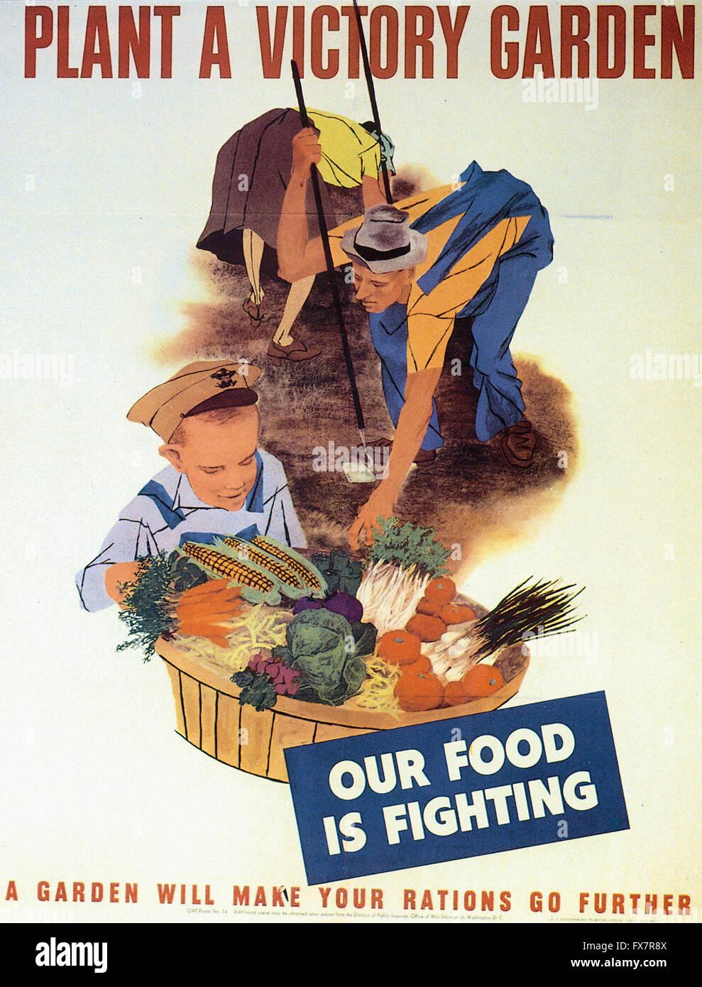 Plantar un Jardín Victoria - Segunda Guerra Mundial - cartel propagandístico en EE.UU. Foto de stock