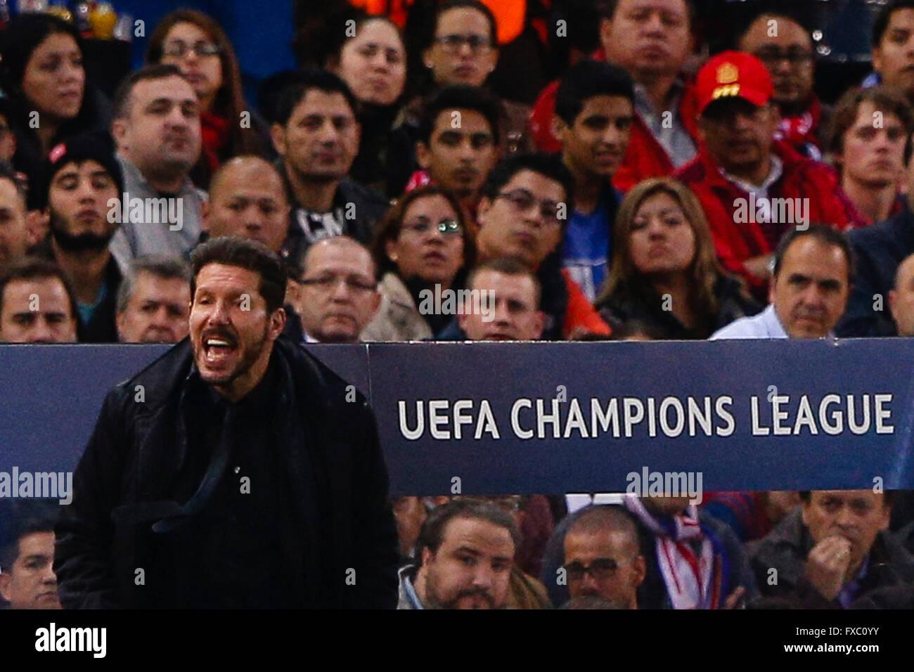 Madrid, España. 13 abr, 2016. Diego Pablo Simeone entrenador del Atlético de Madrid UCL, Liga de Campeones Imagen De Stock