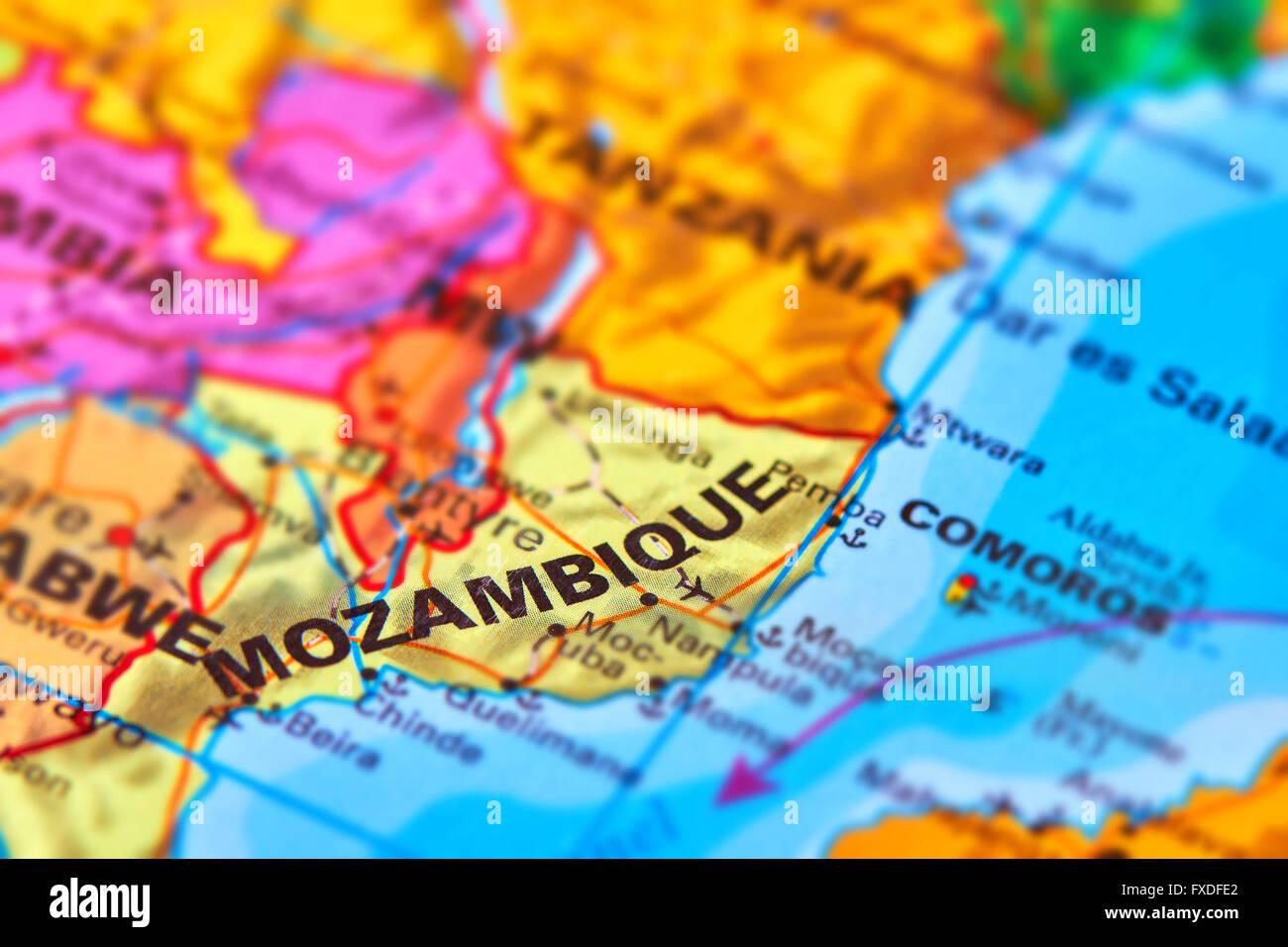 Mozambique, país de África en el mapa del mundo Imagen De Stock