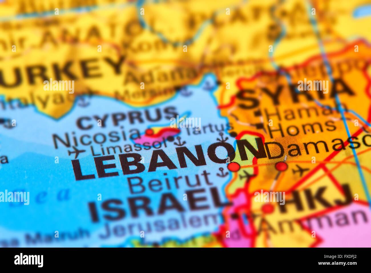 El Líbano, país en el Oriente Medio en el mapa del mundo Imagen De Stock