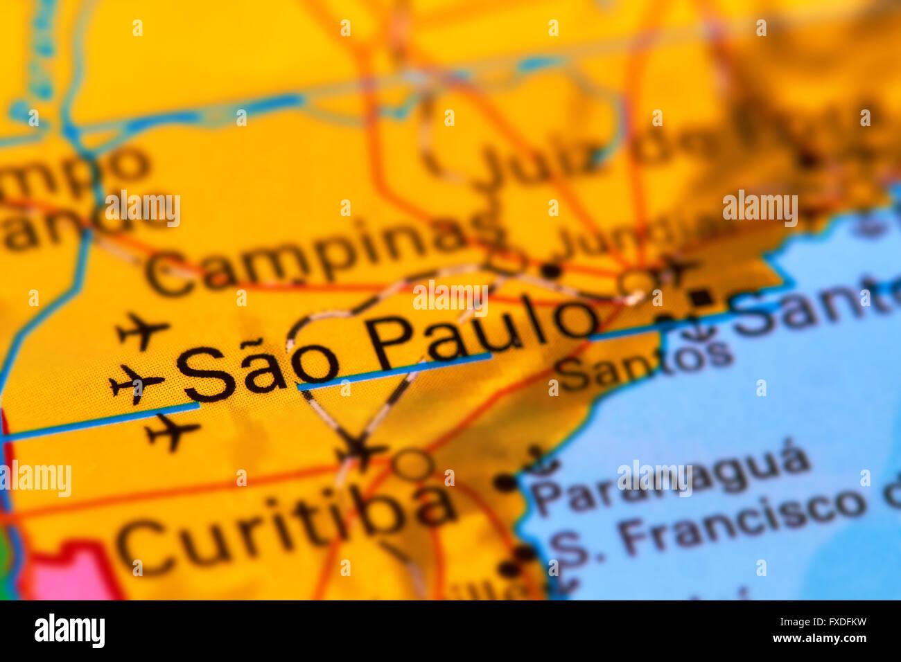 En la ciudad de Sao Paulo, Brasil en el mapa del mundo Imagen De Stock