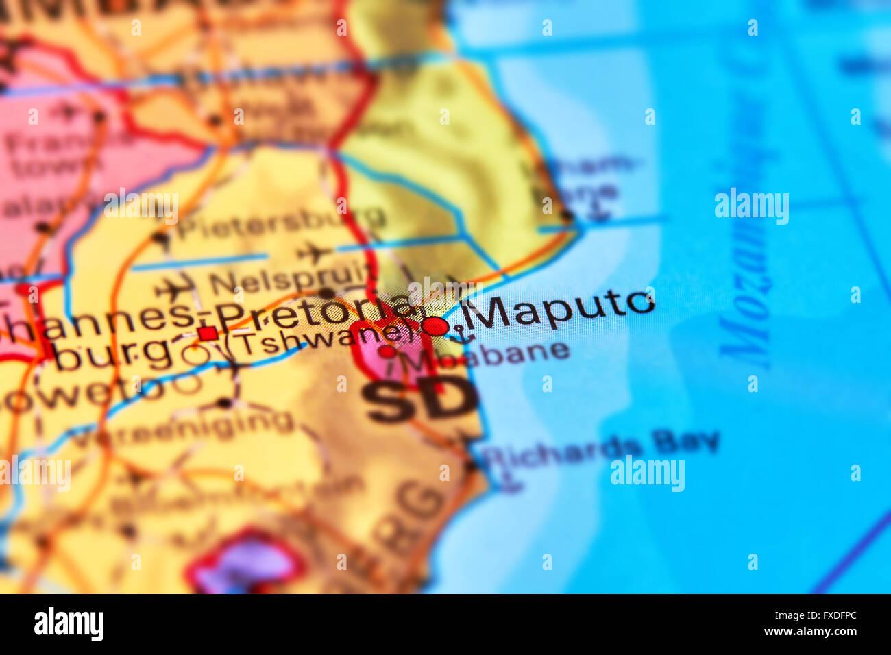 Maputo, la capital de Mozambique en el mapa del mundo Imagen De Stock