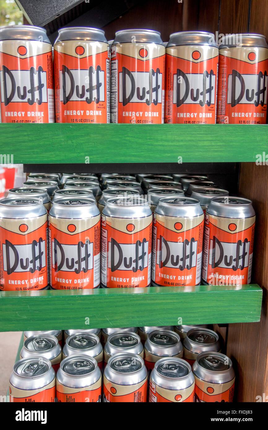 Duff marca de bebidas energéticas para la venta en Los Simpsons TV Show Área de Universal Studios Florida Foto de stock