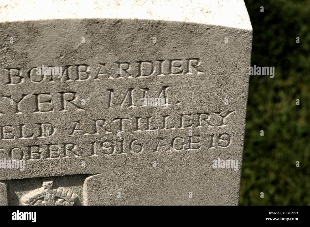 AJAXNETPHOTO. La Somme, FFRANCE. - Servicio mínimo Edad - la batalla del Somme, 1º de julio de 1916. Regístrese Imagen De Stock