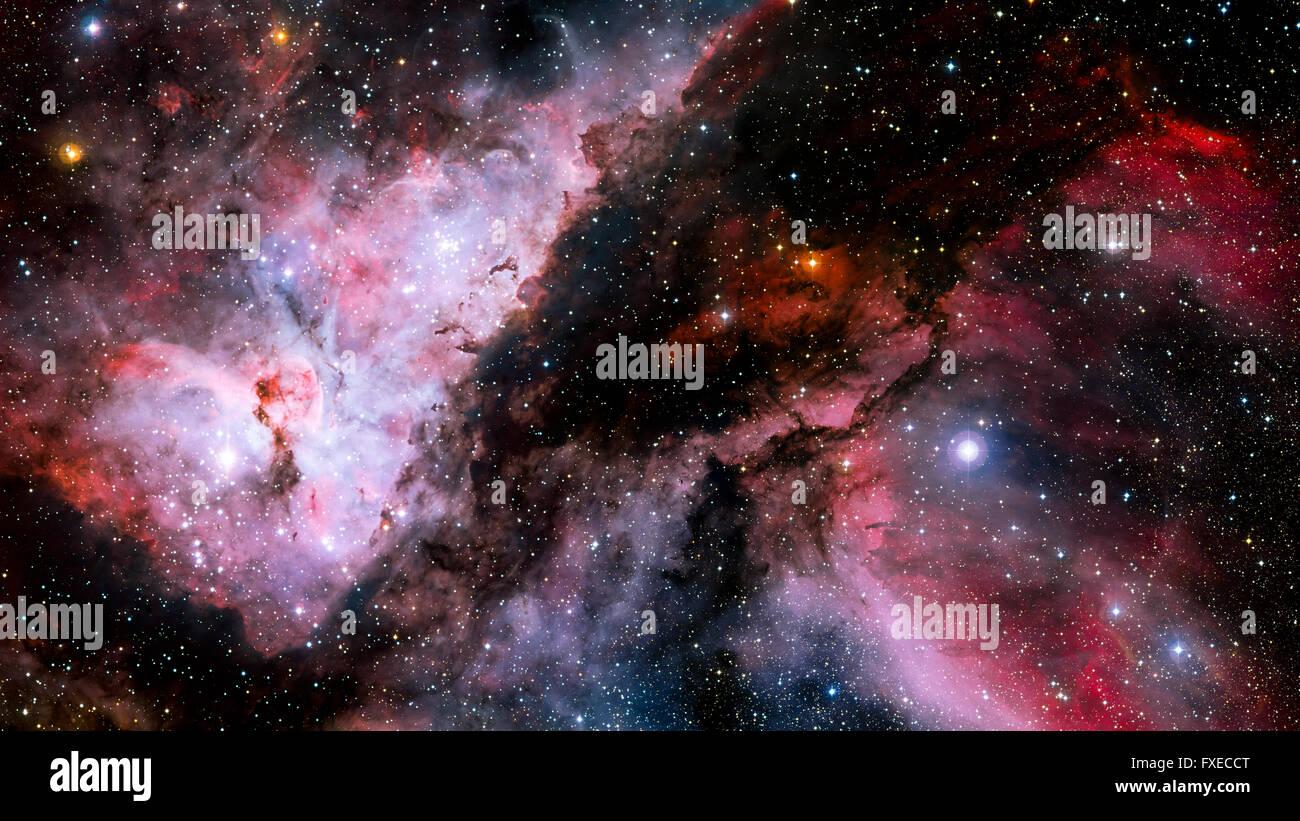 Estrellas nebulosa, hermoso y colorido explosivo en el espacio Imagen De Stock