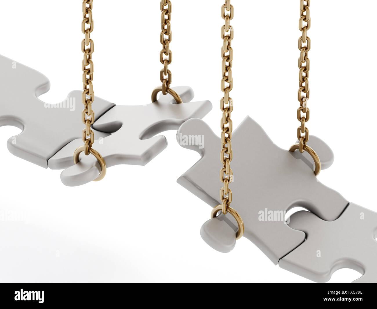 Las piezas de un rompecabezas formando un puente aislado sobre fondo blanco. Imagen De Stock