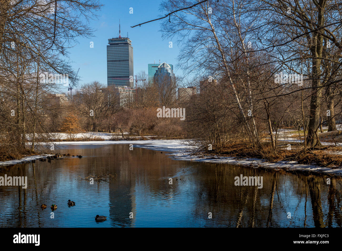 Prudential Tower de Back Bay Fens ,Boston Imagen De Stock