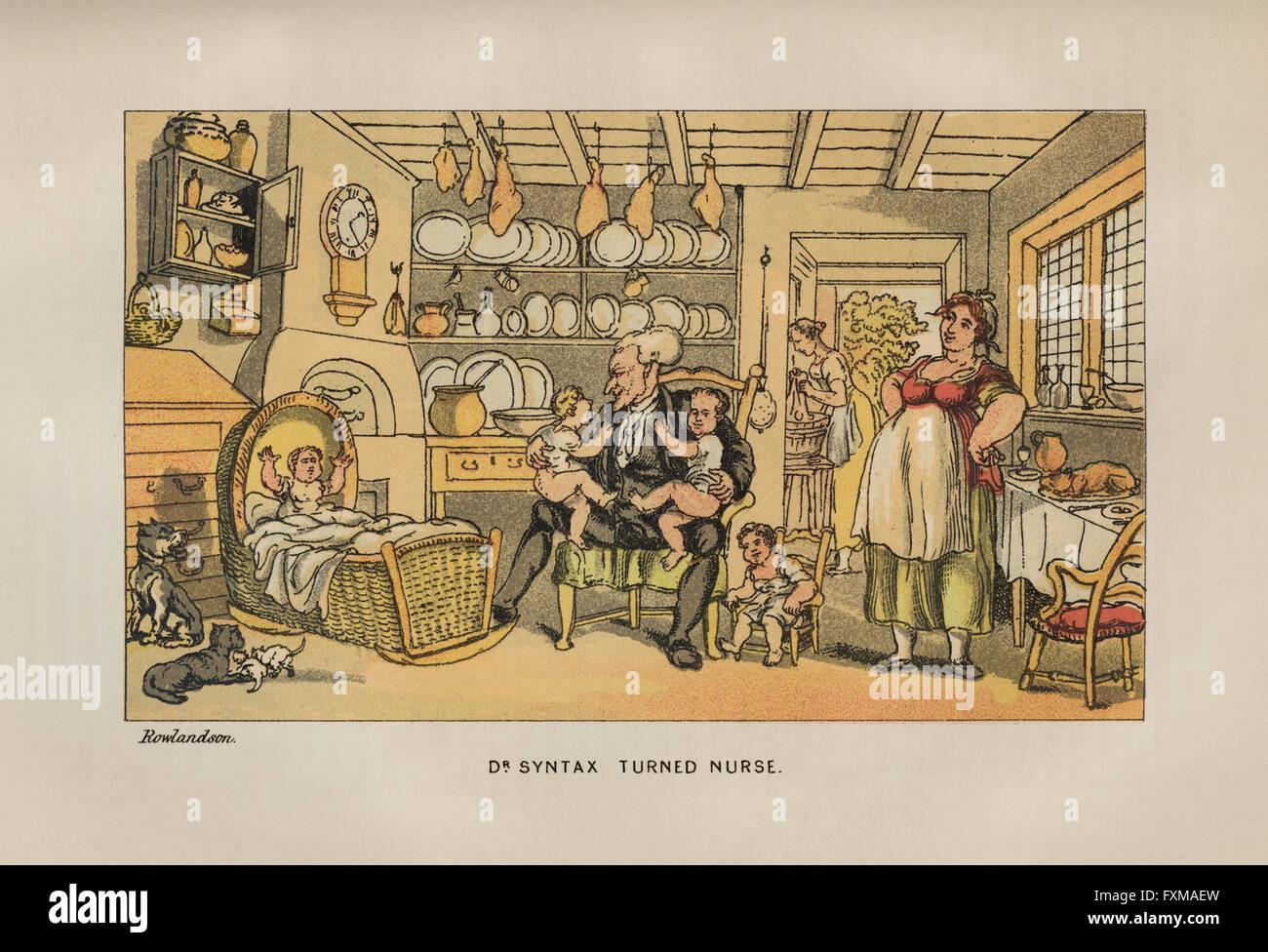 Vintage satírica ilustración en color por Thomas Rowlandson (1756 ...