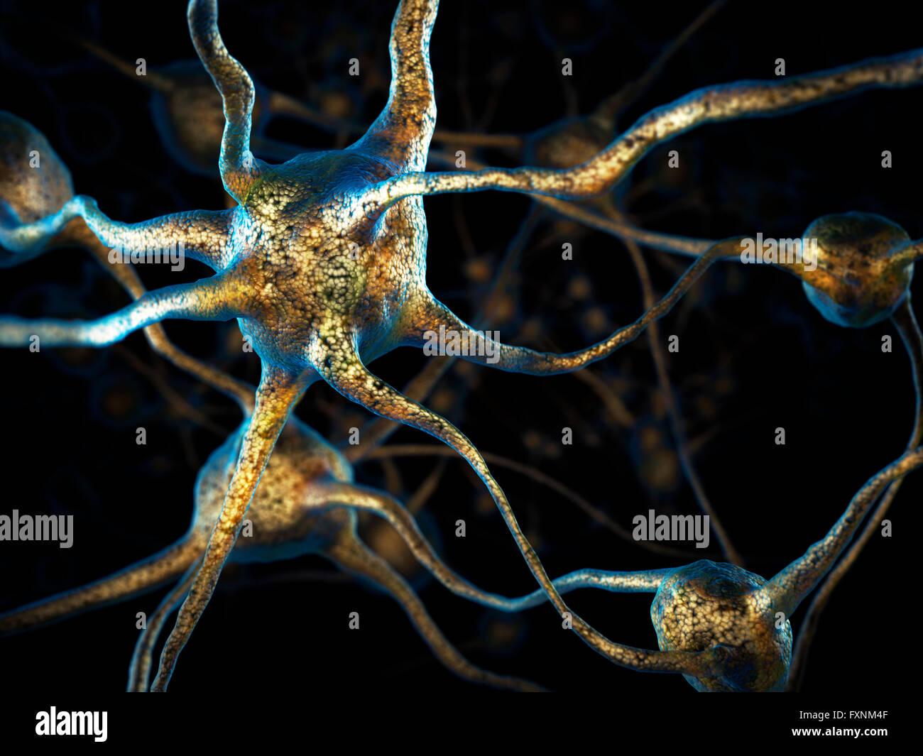 Ilustración 3D Conceptual de braincells, red de neuronas, sistema nervioso Imagen De Stock