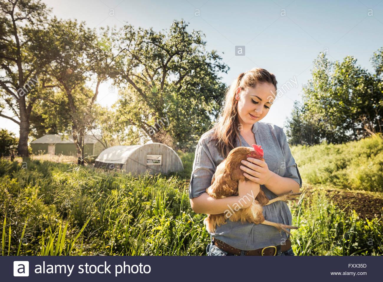 Mujer sosteniendo el pollo en la tierras de labrantío sonriendo Imagen De Stock