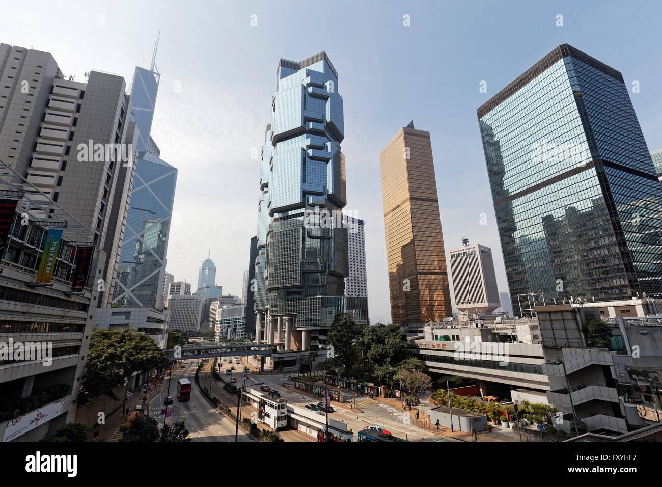 Las estaciones de metro de Queensway con Lippo Center y el Centro de Finanzas de Lejano Oriente, Admiralty, Distrito Imagen De Stock