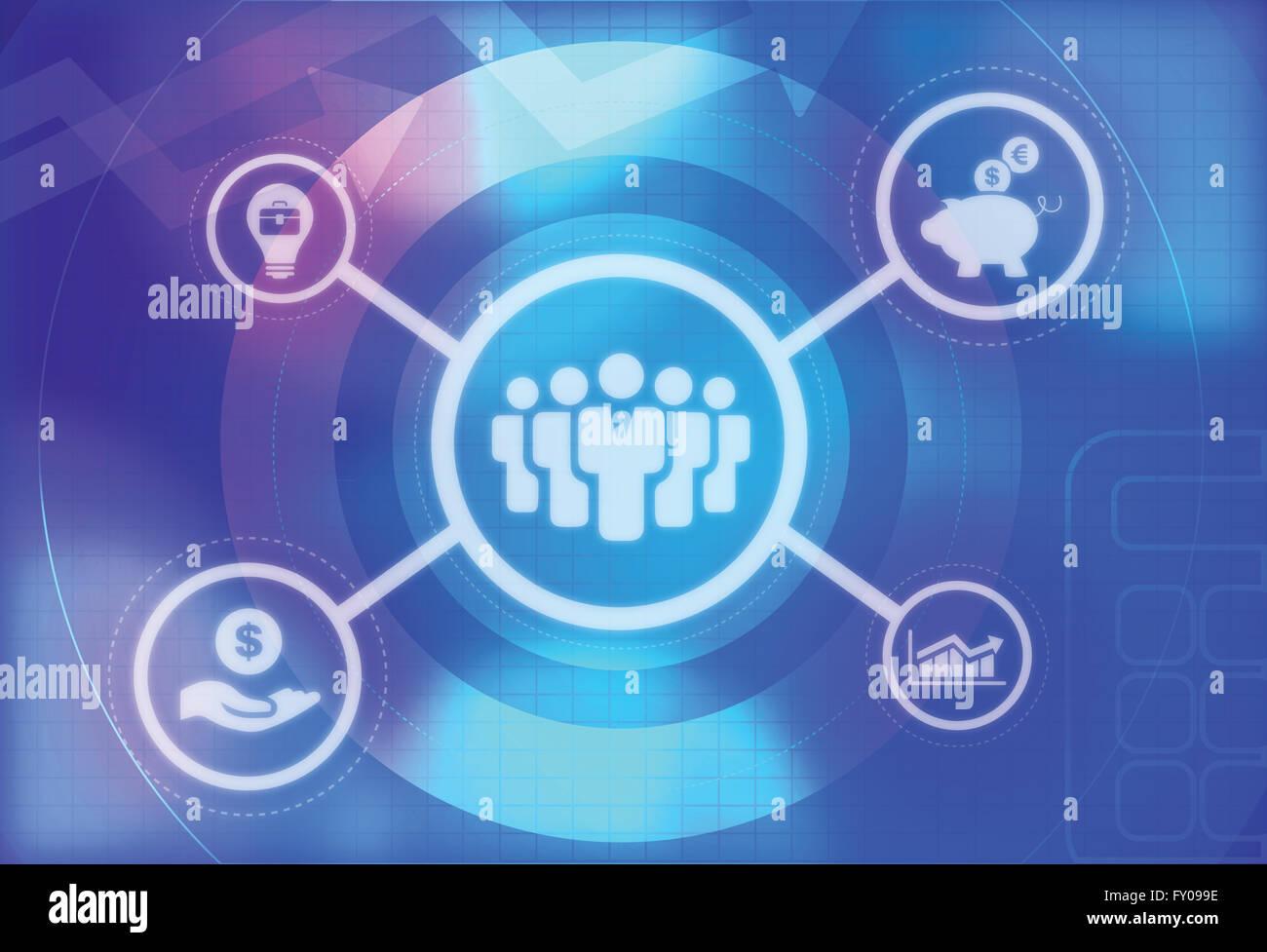 Ilustración de iconos de negocios. Los líderes empresariales y gráfico. Alcancía con signo de Imagen De Stock