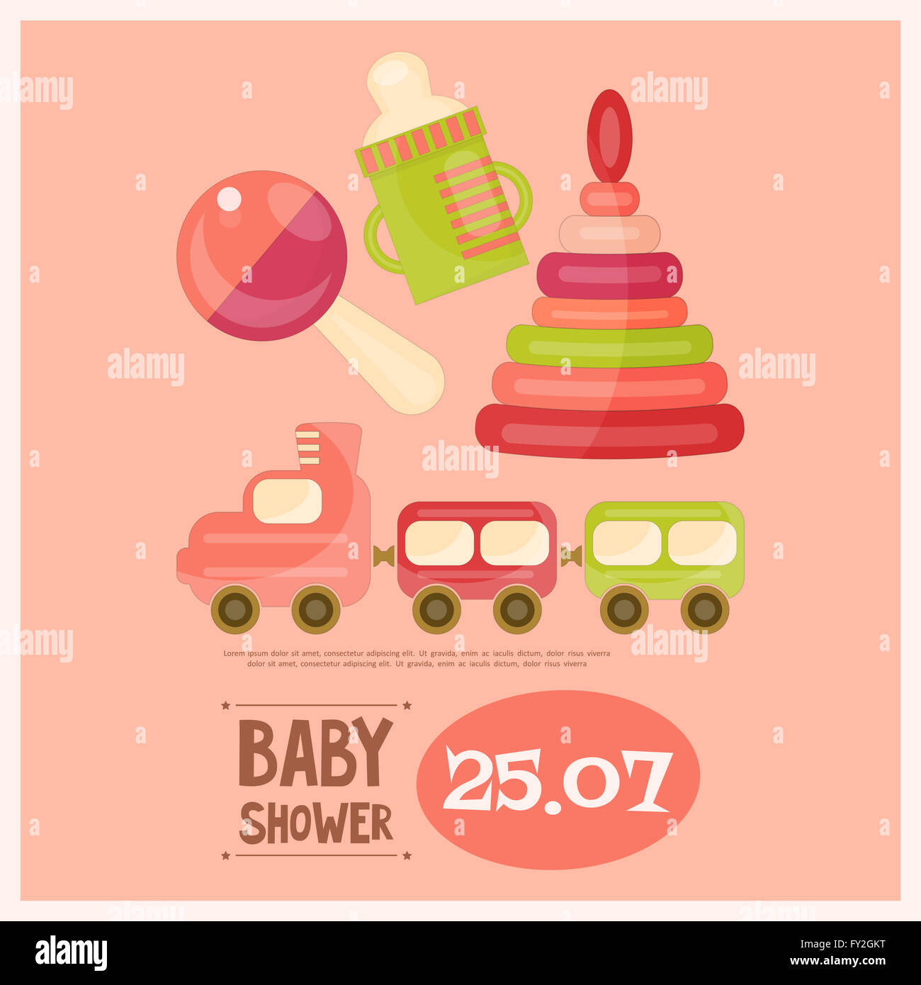 Tarjeta de Baby Shower. Juguetes para niños sobre fondo de color ...