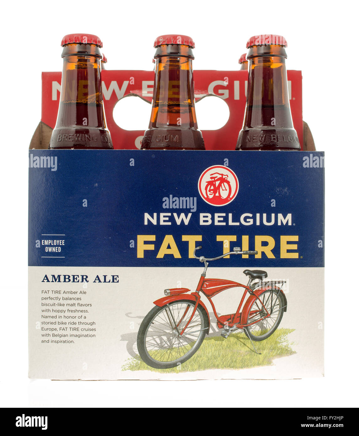 Winneconne, WI -3 Nov 2015: Seis pack de nuevo neumático Fat Bélgica cerveza. Foto de stock