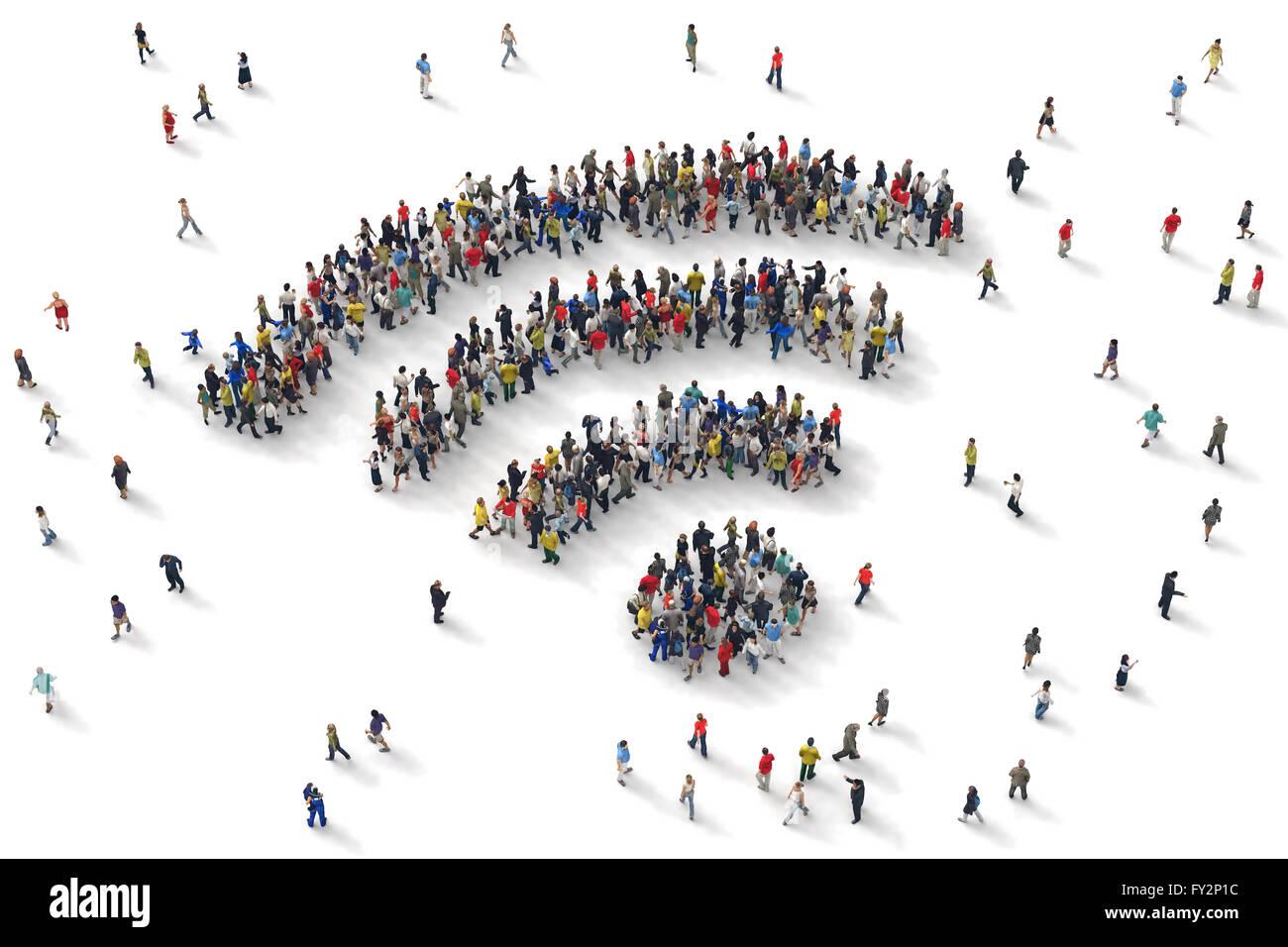 Representación 3D de personas wifi Imagen De Stock