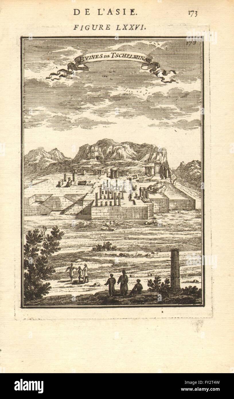 PERSIA (Irán): Ruinas de Chehel Minar (Takht-e Jamshid) . Ruinas. MALLET, 1683 Foto de stock