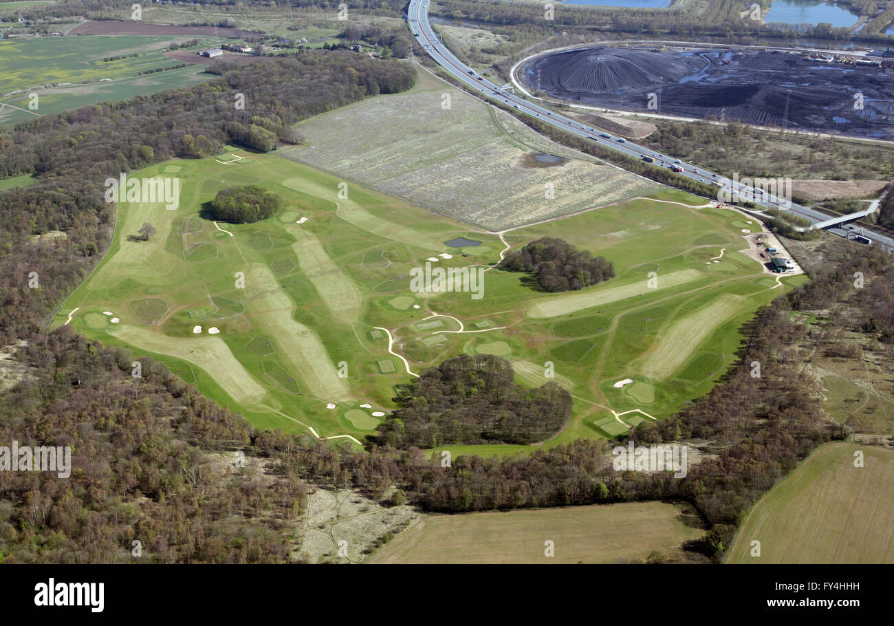 Vista aérea de Ferrybridge Golf Course, Yorkshire, Reino Unido Foto de stock