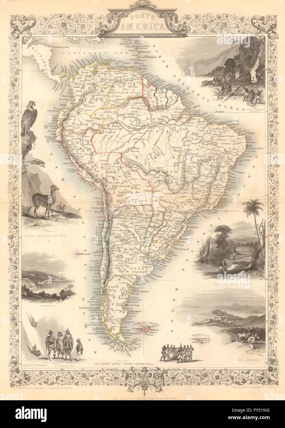 América del Sur. Perú-Confederación Boliviana. La Gran Colombia. TALLIS/RAPKIN, 1849 mapa Foto de stock
