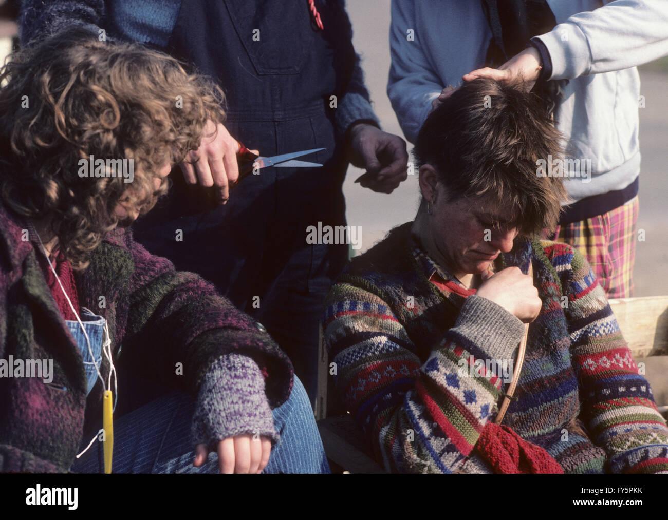 En 1981 las mujeres de Greenham Common campamento de protesta fue creado para protestar contra misiles de crucero Imagen De Stock
