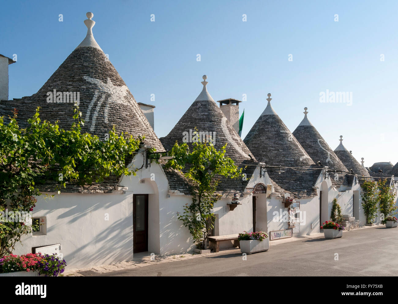 Fila de Trullo casas en Monte Pertica Street, Trulli Distrikt, Alberobello, Puglia, Italia Imagen De Stock