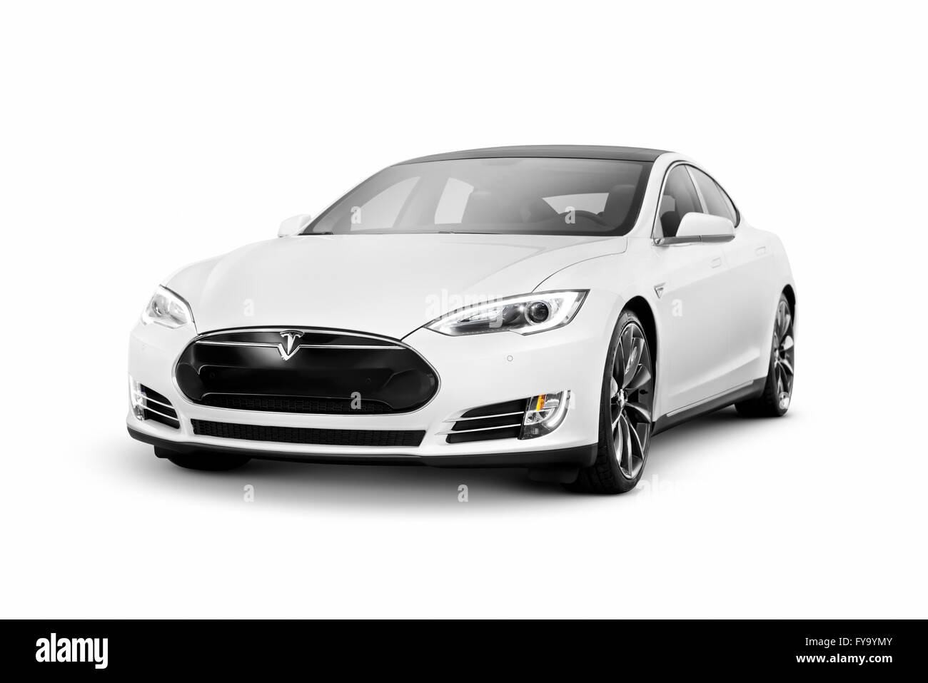 Blanco 2014 Tesla modelo S coche eléctrico de lujo sedán premium Imagen De Stock