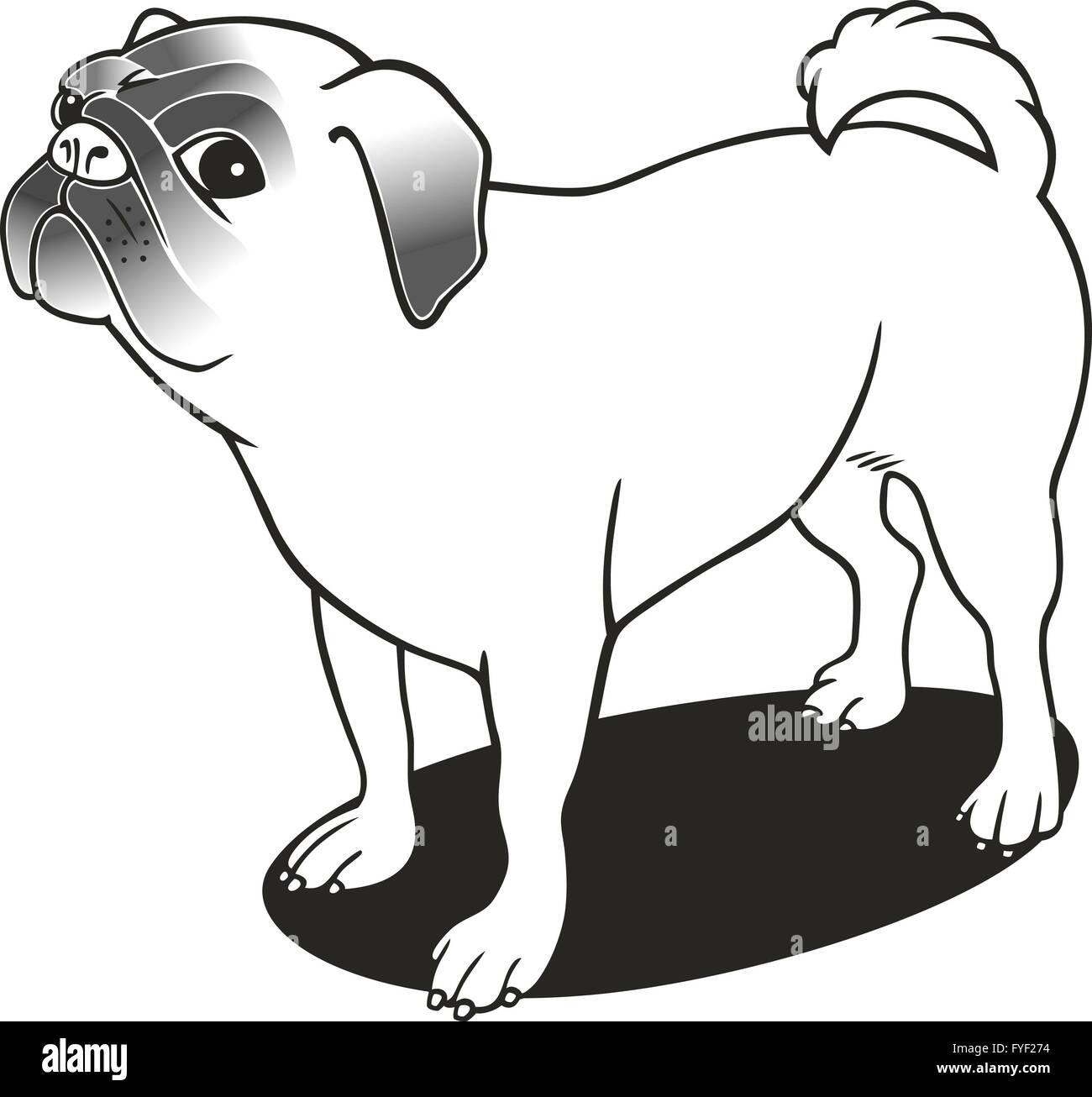 Excelente Lindo Pug Para Colorear Imagen - Enmarcado Para Colorear ...