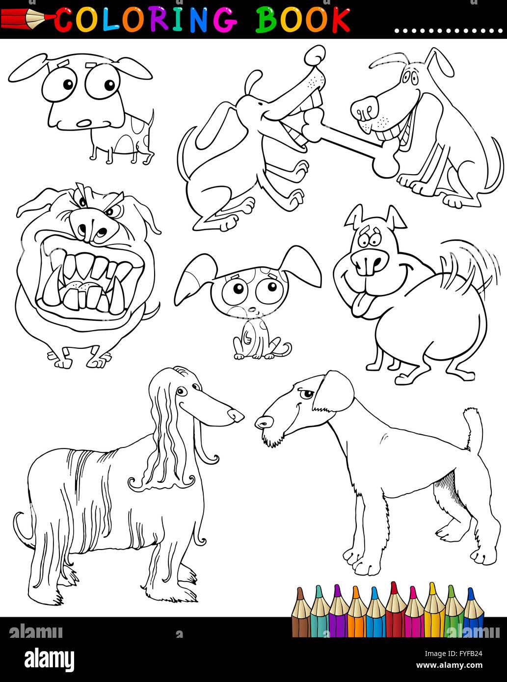 Perros de dibujos animados para colorear libro o página Foto ...