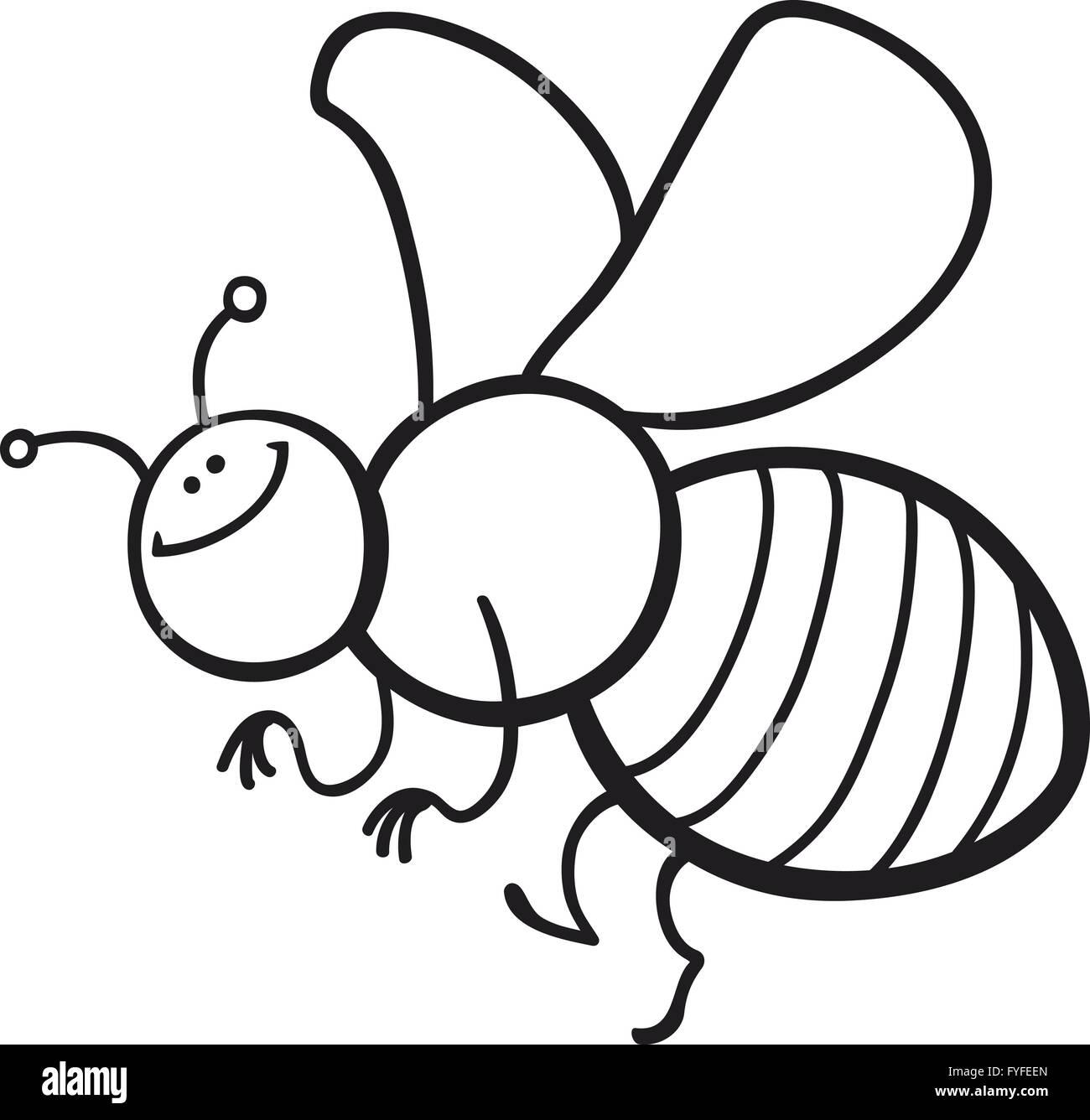 Página Para Colorear Abeja De Dibujos Animados Foto Imagen De