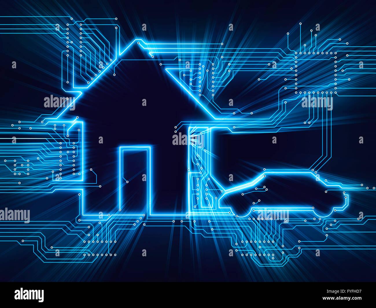 Casa conectado y el coche eléctrico, hogar del futuro, ilustración Imagen De Stock