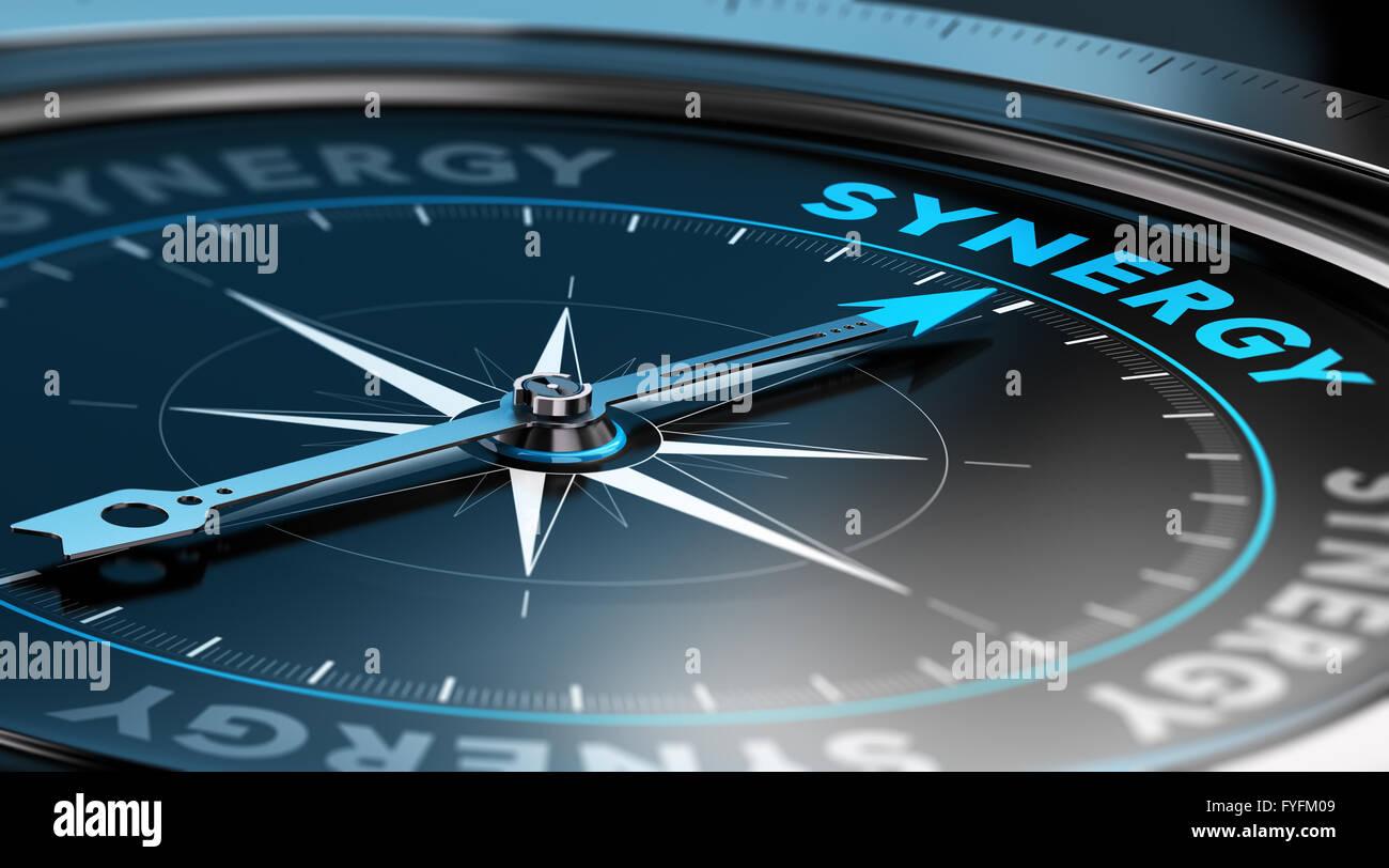 Ilustración 3D de una brújula con la aguja apuntando hacia la palabra sinergia. fondo negro Imagen De Stock