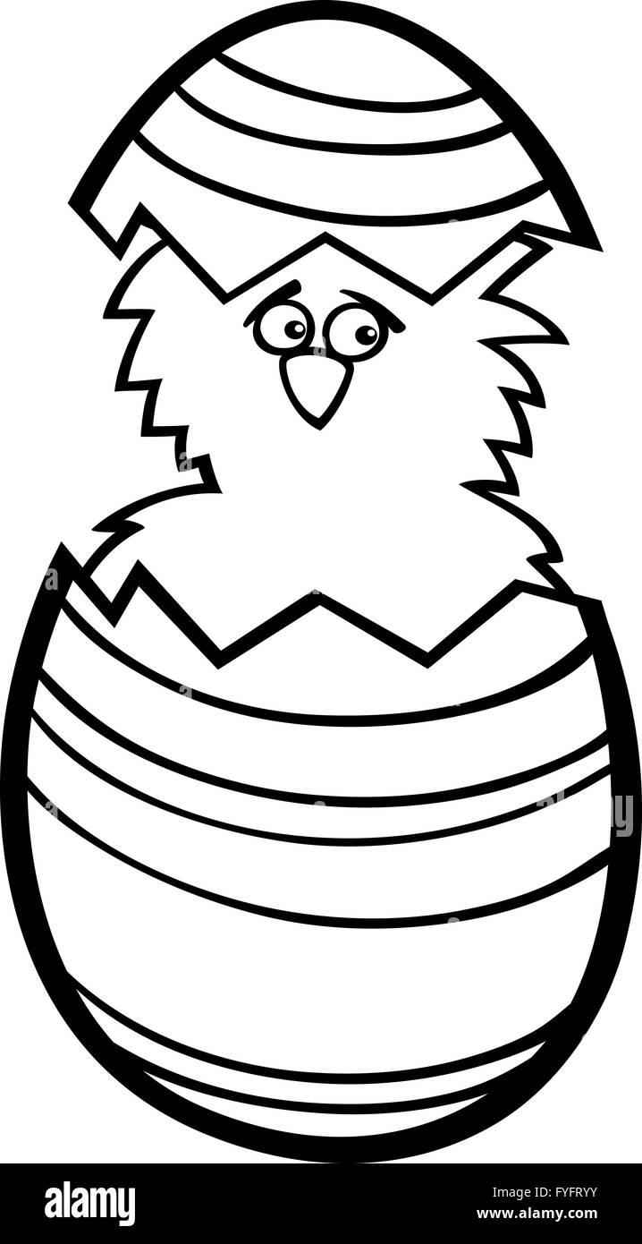 Pollo En Huevo De Pascua Para Colorear Dibujos Animados Foto